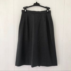 Vintage Charcoal Pure New Wool Skirt